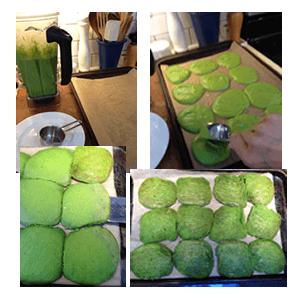 Baking Kermit pancakes